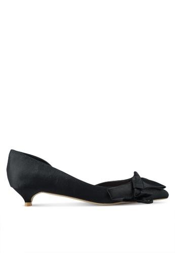 Nose 黑色 Bow Half D'Orsay Low Heel Pumps 59A0FSH897D394GS_1
