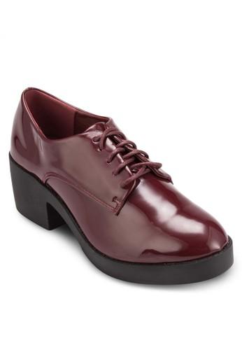 漆皮繫帶esprit台灣門市低粗跟鞋, 女鞋, 鞋
