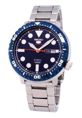 Seiko 5 Sports Blue And Silver Stainless Steel Watch