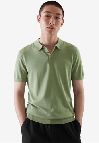 COS green Silk Polo Shirt E8DE6AA79EA4B8GS_1