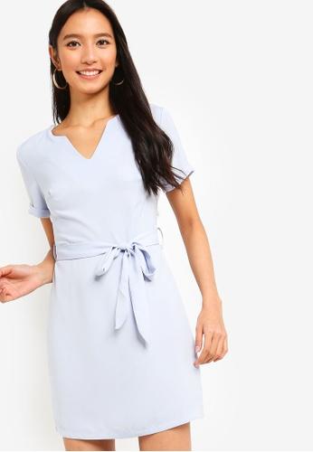 ZALORA blue Short Sleeves Notch Neck Shift Dress 0ECEDAA75D6ADEGS_1