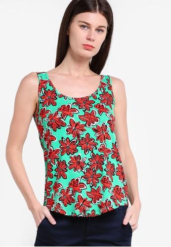 WAREHOUSE green Woodblock Daisy Print Vest WA653AA77GVYMY_1
