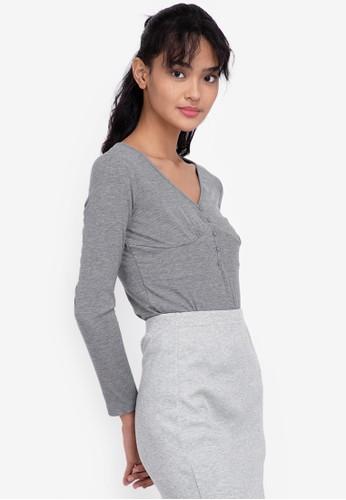 ZALORA BASICS grey Long Sleeve Deep V Bodysuit D9217AACE914D9GS_1