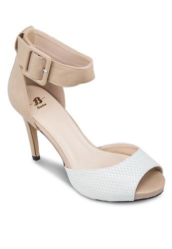 Caseyesprit女裝 蛇紋露趾繞踝高跟鞋, 女鞋, 高跟鞋