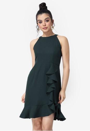 FabAlley green Ruffled Halter Dress 8FCC7AA0C71CBAGS_1