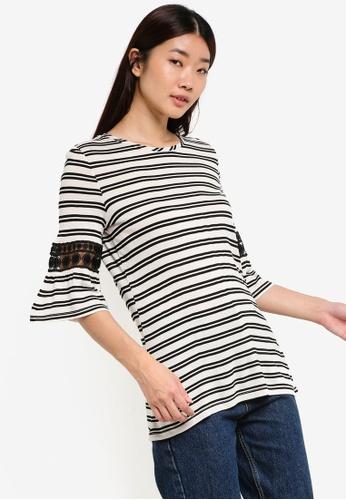 Dorothy Perkins white Ivory Stripe Flutter Sleeve Top DO816AA17STYMY_1