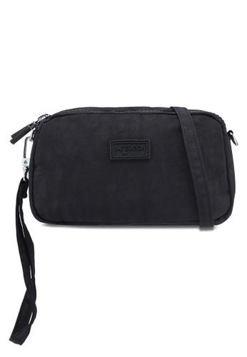 Bagstationz black Crinkled Nylon Wristlet Pouch BC388AC20BB778GS_1