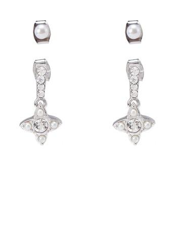Dual esprit outlet尖沙咀Pearl Diamante Earrings, 飾品配件, 飾品配件