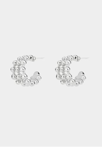 Pomelo silver Stacked Bead Open Hoop Earrings - Silver 71255ACDD3766AGS_1