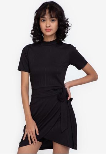 ZALORA BASICS black Turtle-Neck Fake Wrap Dress 34C81AADB95C45GS_1