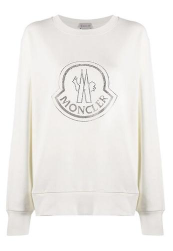 Moncler white Moncler Rhinestone Embellished Logo Sweatshirt in White 79554AA55FDE43GS_1