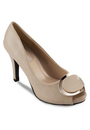 金飾魚口仿皮高跟鞋, 女鞋, 厚底zalora 包包 ptt高跟鞋