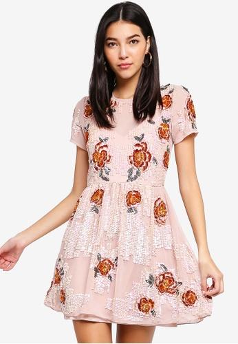 Miss Selfridge pink Floral Embellished Fit And Flare Dress 1D4DBAAE957887GS_1