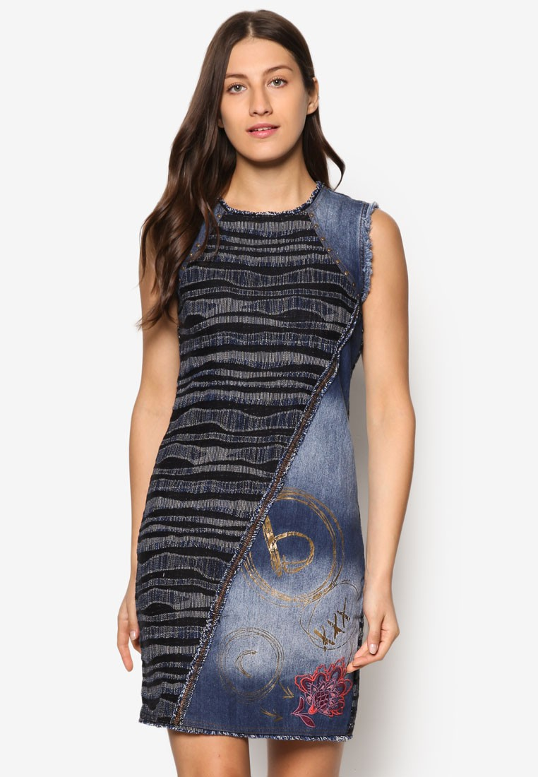 Medium Wash Denim Shift Dress