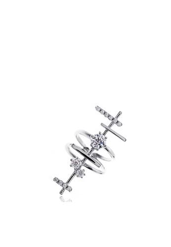 銀色多條晶體裝esprit 尖沙咀飾戒指, 飾品配件, 女裝飾品