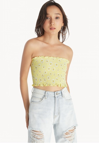 045e1d4635d Pomelo yellow Floral Smocked Tube Top - Yellow 35B06AA7E1C252GS 1