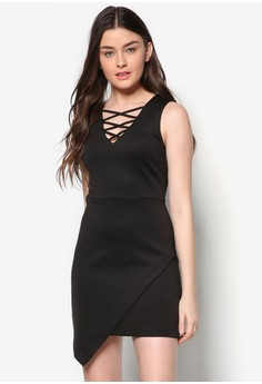 Love Lace Up Dress With Asymmertrical Flap