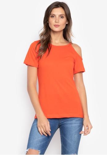 moondaze orange Whitney One-Side Cold Shoulder Top F8750AA9054068GS_1