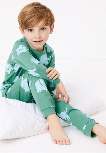 MARKS & SPENCER green and blue 2 Pack Cotton Animal Design Pyjama Sets 9E448KA57AF3C1GS_1