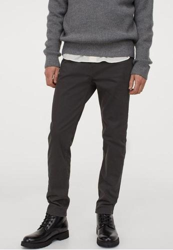 H&M grey Twill Trousers Skinny Fit F9618AA01E3090GS_1