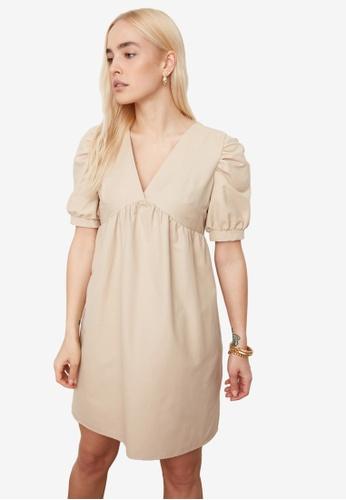 Trendyol beige V Neck Puff Sleeve Dress 2AC8CAA54E241DGS_1
