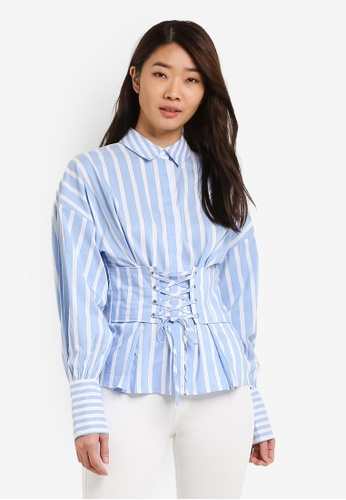 TOPSHOP blue Wide Stripe Corset Shirt TO412AA0RIA3MY_1