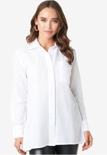 NA-KD 白色 亞麻鈕釦襯衫 6EE14AA61E633FGS_1