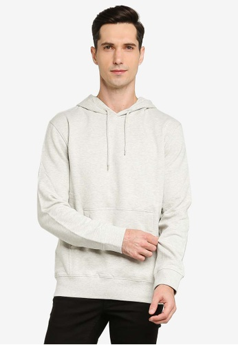 French Connection grey Loopback Terry Hoodie 9A9FCAAB553EC8GS_1