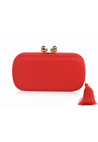 Dazz red Double Heart Tassel Clutch - Red 1294BACE30213AGS_1