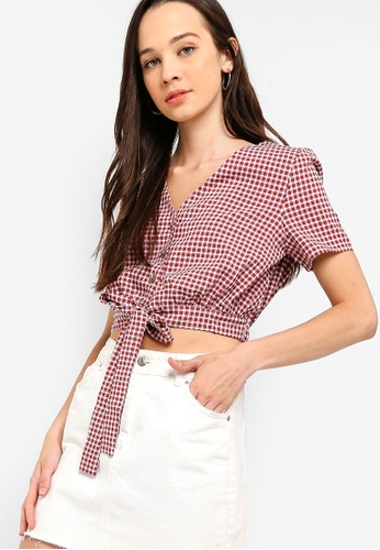 1460b3e43c4d51 Shop Something Borrowed Button Down Cropped Tie Top Online on ZALORA  Philippines