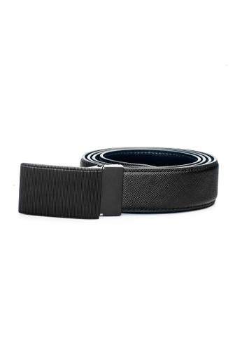 ENZODESIGN black Matte Buckle Saffiano Embossed Leather Belt EN357AC0F58XSG_1