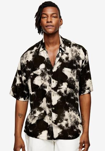 Topman black Black and White Tie Dye Slim Shirt 230A0AAE6A3160GS_1