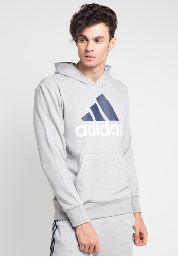 adidas grey adidas essentials linear pullover hoodie AD372AA0SUOLMY_1