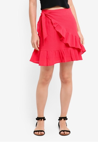 INDIKAH red Faux Wrap Mini Skirt EF3C3AA80D9412GS_1