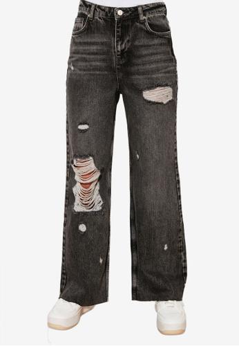 Trendyol grey High Waist Wide Leg Ripped Jeans 5214DAAEB856AAGS_1