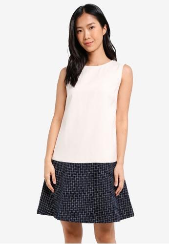 ZALORA white Swing Dress With Contrast Hem E0590AA046B13FGS_1
