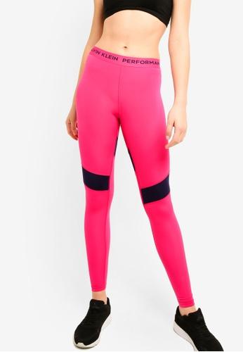 Calvin Klein pink CK Logo Waistband Full Length Leggings - Calvin Klein Performance 4B94CAA69EB800GS_1