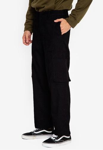 ZALORA BASICS black Corduroy Trousers D66A0AA7ADE9CFGS_1