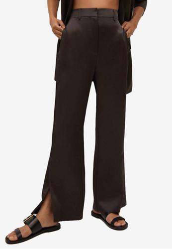 Mango brown Side Slit Satin Trousers 528C7AAA92E821GS_1