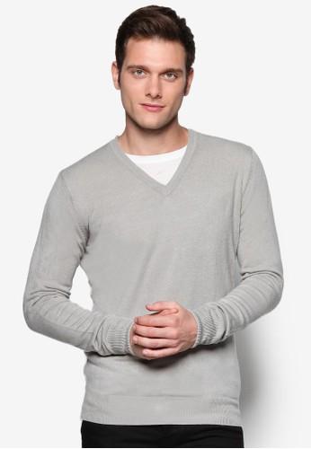 基本款V 領長袖織zalora 心得衫, 服飾, 外套