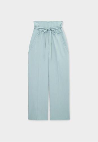 Pomelo blue Waist Tie Wide Leg Pants - Blue 7171FAADAF01DBGS_1