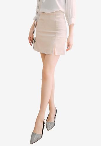 Eyescream beige Slit Hem Skirt DB8CDAAFF825F8GS_1
