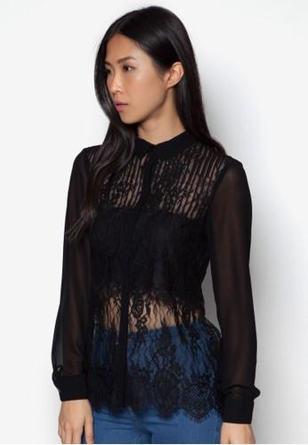 透視蕾絲長袖上衣, 服飾,esprit home 台灣 上衣