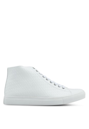 ZALORA white Textured High Top Sneakers 459E1SHA630102GS_1