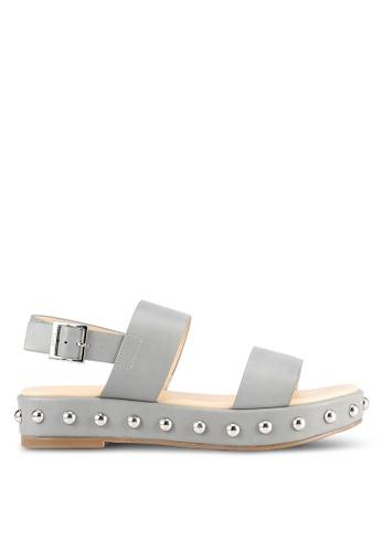 Nose grey Round Studded Sandals NO327SH0S6UKMY_1