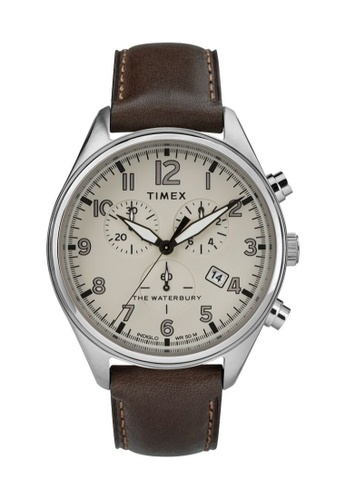 TIMEX brown and silver Timex Waterbury Traditional Chrono 42mm - Silver-Tone Case, Brown Strap (TW2R88200) A25B8AC36BC83AGS_1