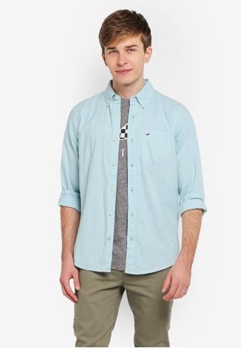 Hollister blue Poplin Shirt HO422AA0SJPMMY_1