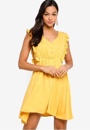Something Borrowed yellow Ruffle V-Neck Sleeveless Dress 8FEB2AA1AD860FGS_1