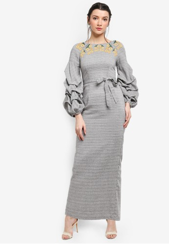 harga Pulled Sleeve Dress with Embroidery Zalora.co.id