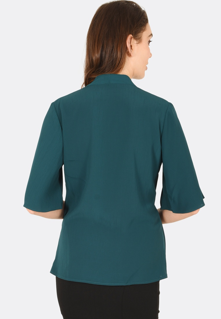 FORCAST Harlow Blouse Teal Short Sleeve 86rqF6S